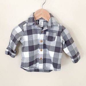 Carter's | Baby Boy Button Down Plaid Shirt 6 Mon